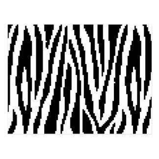 8 Bit Pixel Zebra Print Design Pattern Postcard