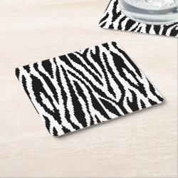 8 Bit Pixel Zebra Print Design Pattern Square Paper Coaster