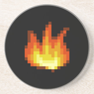 8 Bit Pixeled Fire Coaster