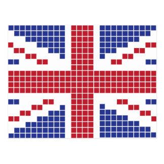 8-bit Pixels Union Jack British(UK) Flag Postcard