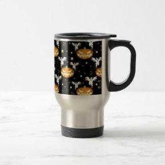 8-bit Pumpkin Ghost Pattern Coffee Mugs