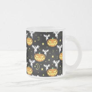 8-bit Pumpkin Ghost Pattern Coffee Mug