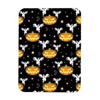 8-bit Pumpkin Ghost Pattern Magnet