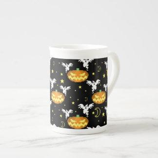 8-bit Pumpkin Ghost Pattern Bone China Mugs