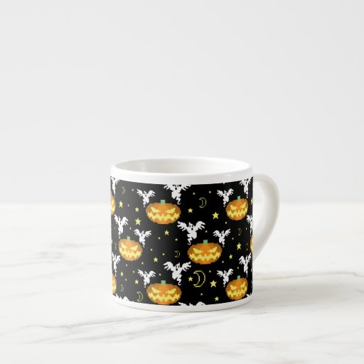 8-bit Pumpkin Ghost Pattern Espresso Cups