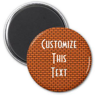 8-Bit Retro Brick, Orange 6 Cm Round Magnet