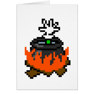 8 bit retro games boiling people in a pot greeting cards