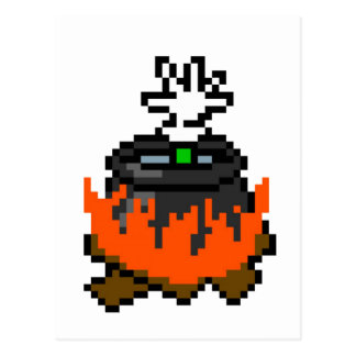 8 bit retro games boiling people in a pot postcard