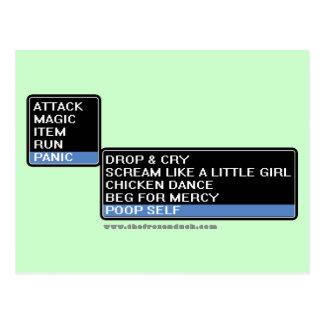 8 Bit RPG Battle Menu Postcard