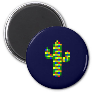 8-bit Saguaro Christmas Lights 6 Cm Round Magnet