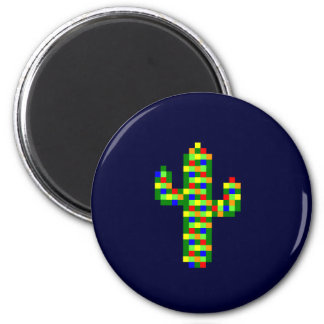 8-bit Saguaro Christmas Lights Fridge Magnet