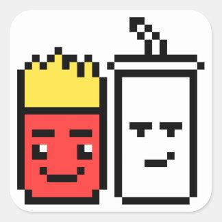 8 Bit Shake and Fries Square Sticker