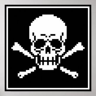8-Bit Skull And Crossbones Pixel Art Poster