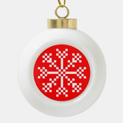 8 bit video game snowflake ceramic ball decoration zazzle for 8 bit decoration