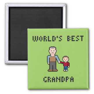 8 Bit World's Best Grandpa Magnet