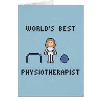 8 Bit World's Best Physiotherapist Greeting Card