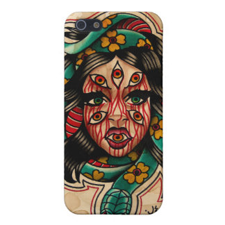 8 Eyed Tattoo Style Watercolor Girl with Snake iPhone 5/5S Cases