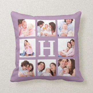 8 Family Photos with Jumbo Monogram Choose Color Cushion