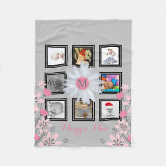 8 Instagram Photo Collage | Daisy Flower Monogram Fleece Blanket