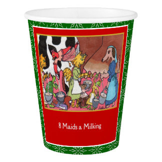 8 Maids a Milking Cute Animals 12 Days Christmas Paper Cup