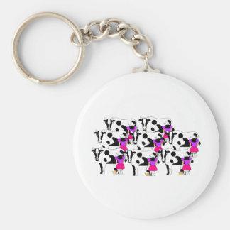 8 Maids Milking Basic Round Button Key Ring