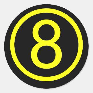 8 - number eight round sticker