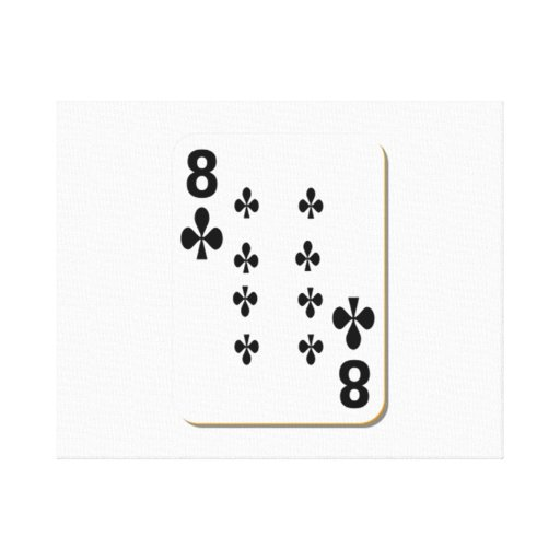8 of Clubs Playing Card Canvas Prints