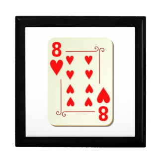 8 of Hearts Playing Card Large Square Gift Box