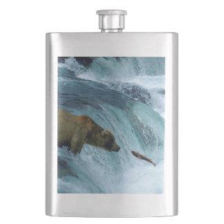 8 oz Classic Flask - Alaskan fishing bear