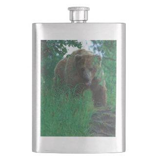 8 oz Classic Flask - Bear Confrontation in Alaska