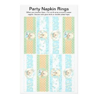 8 per sheet Christmas Bears Paper Napkin Rings 14 Cm X 21.5 Cm Flyer