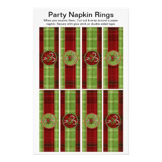 8 per sheet Christmas Tartan Paper Napkin Rings 14 Cm X 21.5 Cm Flyer