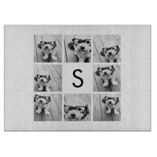 8 Photo Collage Custom Monogram Black and White Cutting Board