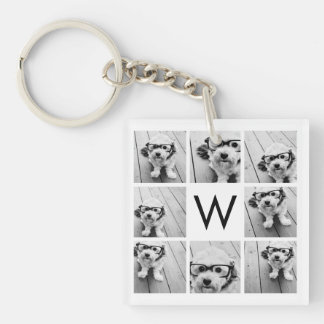 8 Photo Collage Custom Monogram Black and White Double-Sided Square Acrylic Key Ring