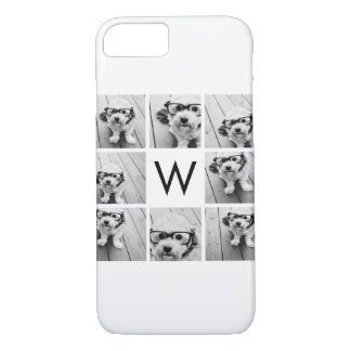 8 Photo Collage Custom Monogram Black and White iPhone 8/7 Case