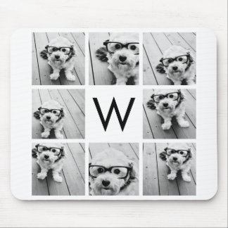 8 Photo Collage Custom Monogram Black and White Mouse Mat