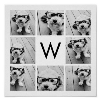 8 Photo Collage Custom Monogram Black and White Poster