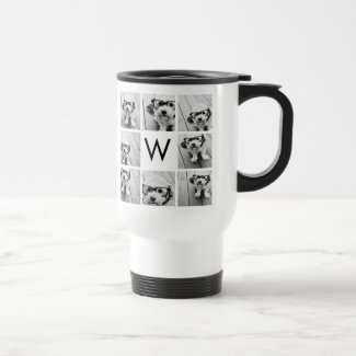 8 Photo Collage Custom Monogram Black and White Travel Mug