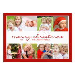 8 Photo Collage Holiday Photocard - Red Invites