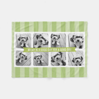 8 Photo Collage Light Green CAN EDIT Text & Colour Fleece Blanket