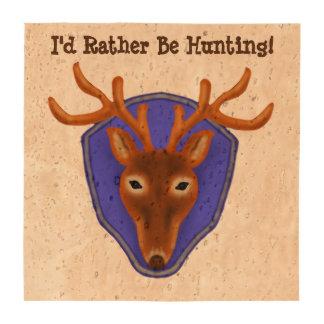 8-Point Buck Deer Hunting Trophy on Wood Grain Drink Coaster