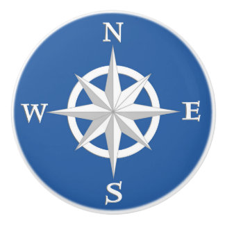 8-Point Compass Rose, White and Cobalt Blue Ceramic Knob