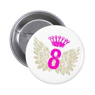 #8 Raspberry Wings 6 Cm Round Badge