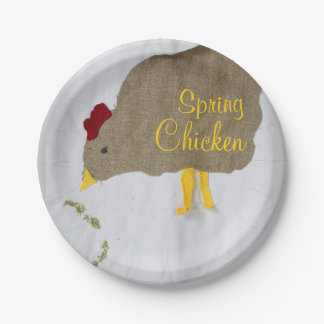 "8 ""SPRING CHICKEN""+Appliqué Design Paper Plates 7"""