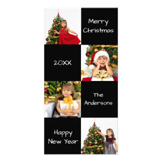 8 Squares Black Modern - Christmas Photo Card