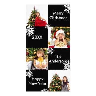 8 Squares Black Modern Snow - Christmas Photo Card