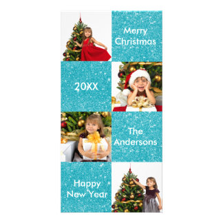 8 Squares Blue Glitter - Christmas Photo Card