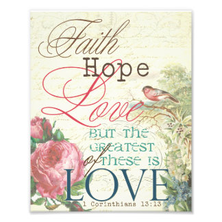 "8"" x 10"" Faith Hope Love Print Art Photo"