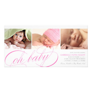 8 x 4 Oh Baby | Birth Announcement Personalized Photo Card