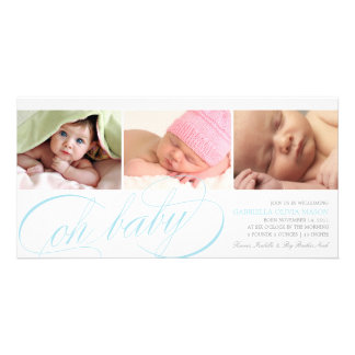 8 x 4 Oh Baby | Birth Announcement Photo Greeting Card